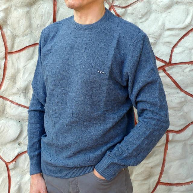 Полушерстяной джемпер джинсового цвета с вязкой в квадраты