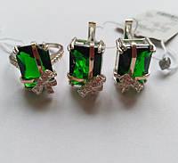 Серебряный набор Клауди с зеленым камнем, фото 1