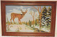 Картина «Зимняя прогулка» вышитая крестом ручной работы 30х19 см