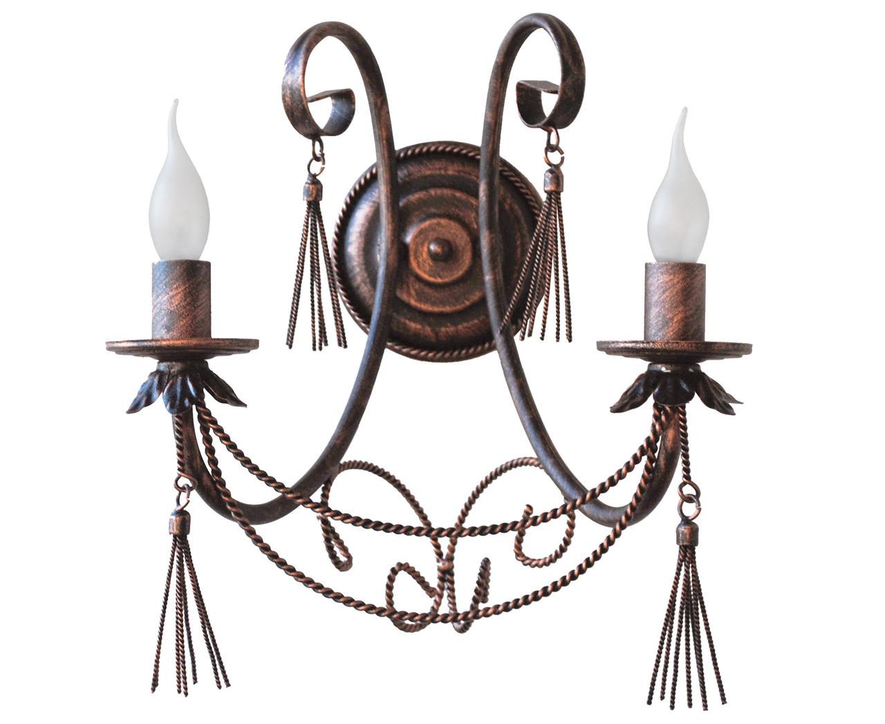 """Кованые бра  """"Кисточки"""" медь на 2 лампы"""