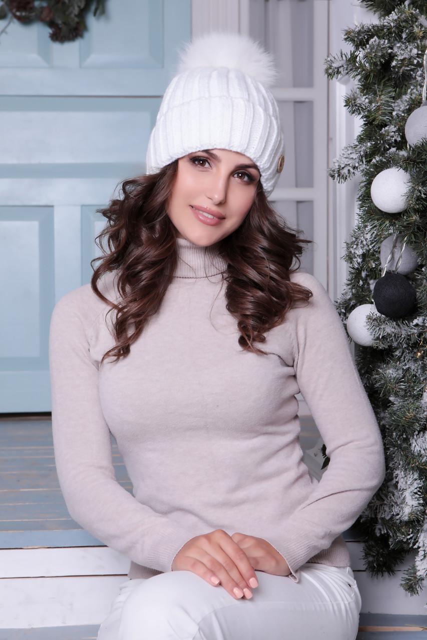 Белая шапочка с помпоном Барбара