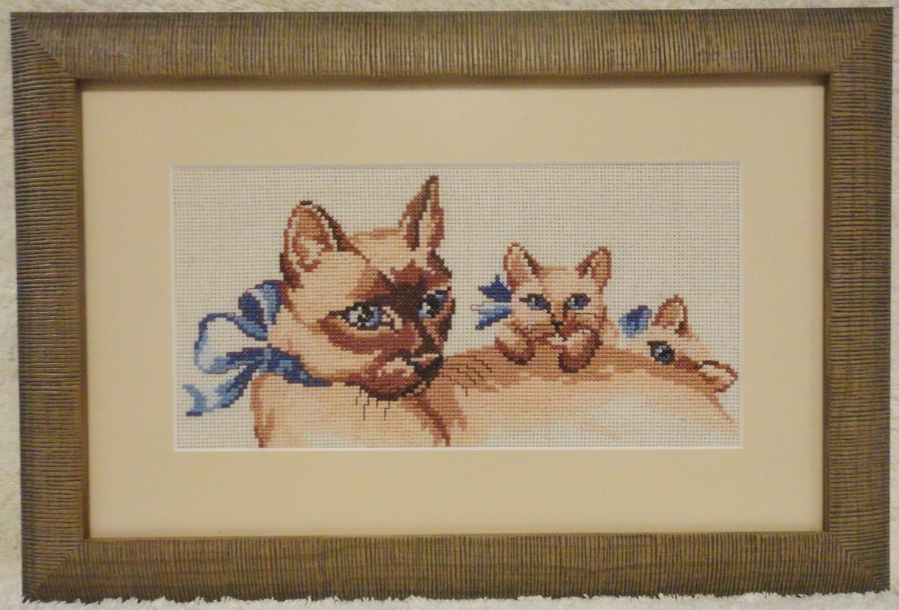 Картина «Мамино тепло» вышитая крестом ручной работы 32х20 см