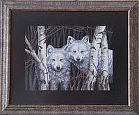 Картина «Волки в берёзовой роще» вышитая крестом ручной работы 43х35 см
