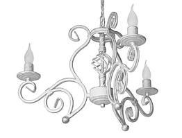 """Люстра кованая  """"Версаль белая с серебром на 3 лампы"""