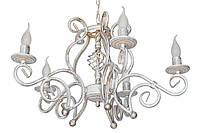 """Люстра кованая """"Версаль"""" белая с золотом на 5 ламп"""