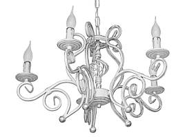 "Люстра кованая ""Версаль""  белая с серебром на 5 ламп"