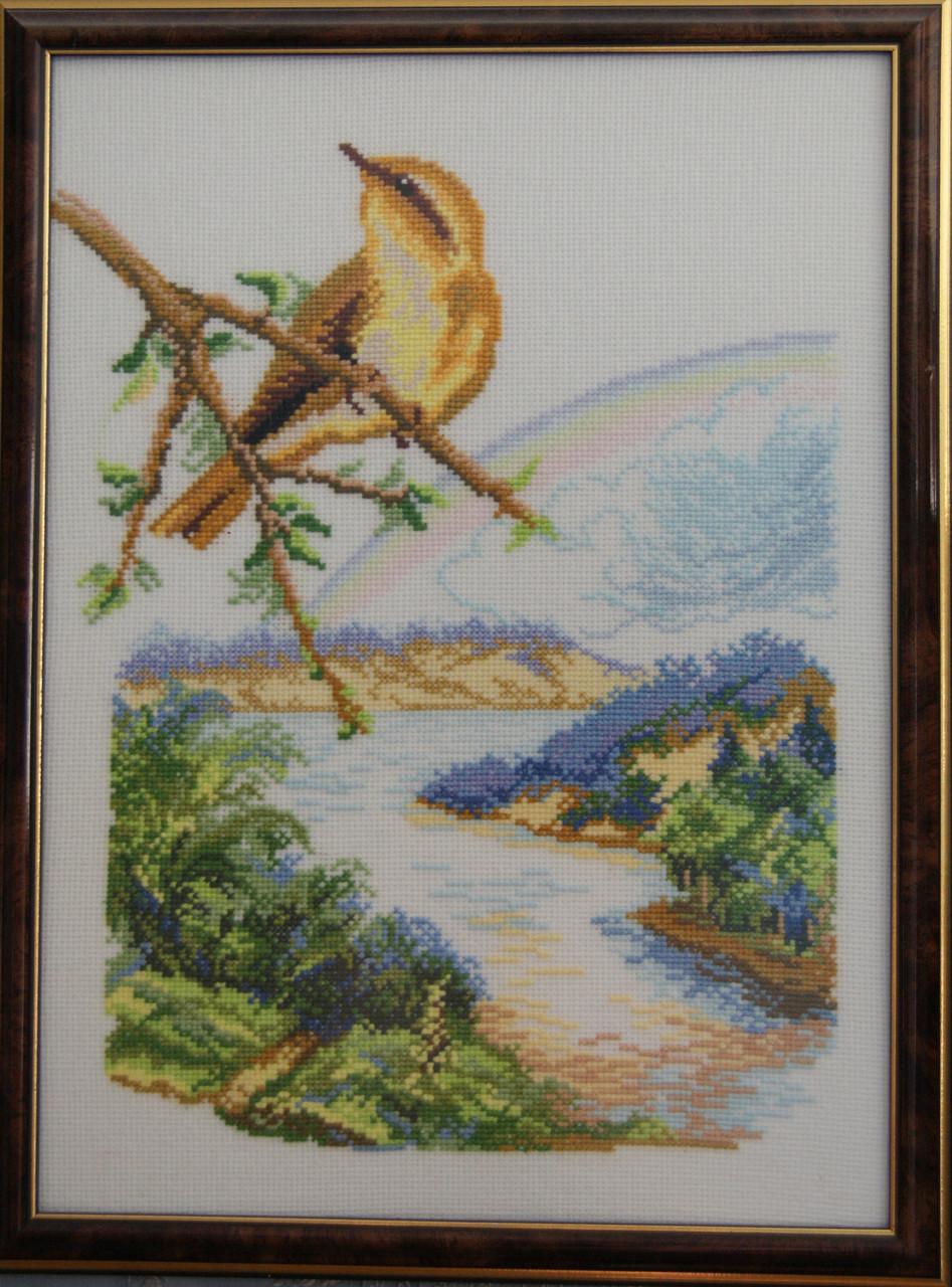 Картина «Летняя птица» вышитая крестом ручной работы 34х24 см