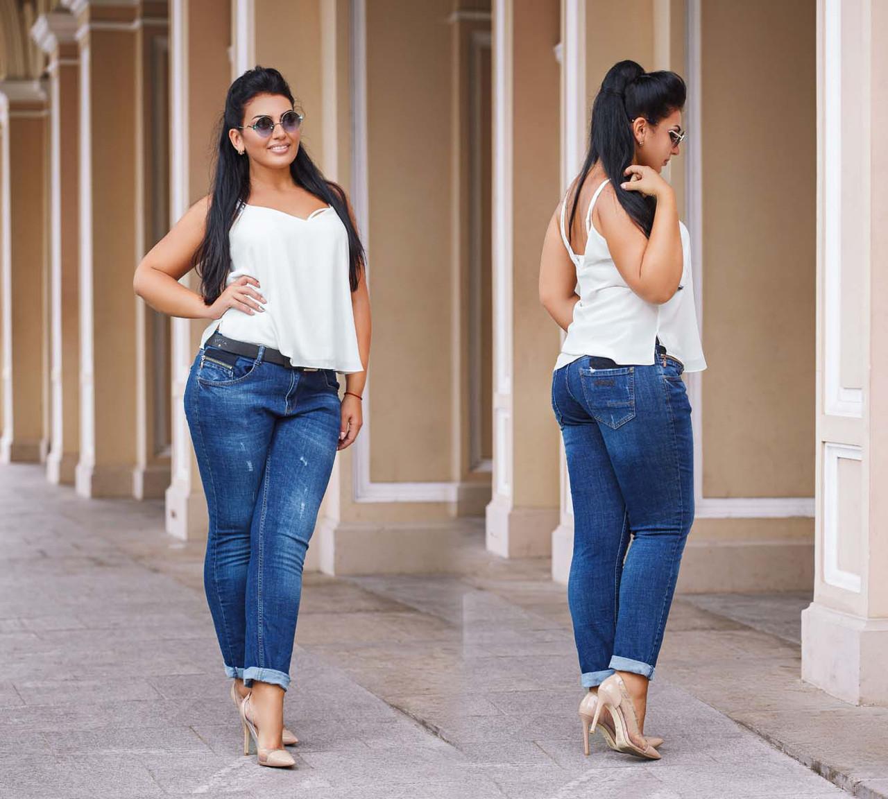 Женские стильные джинсы в больших размерах 0659