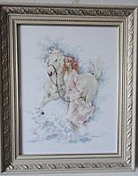 Картина «Прогулка» вышитая крестом ручной работы 36х28 см