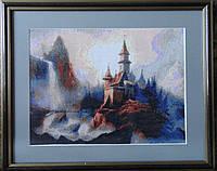 Картина «Таинственный замок» вышитая крестом ручной работы 40х32 см