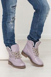 Женские ботинки из натуральной кожи сиреневого цвета COMFORT LAVENDER LEATHER W