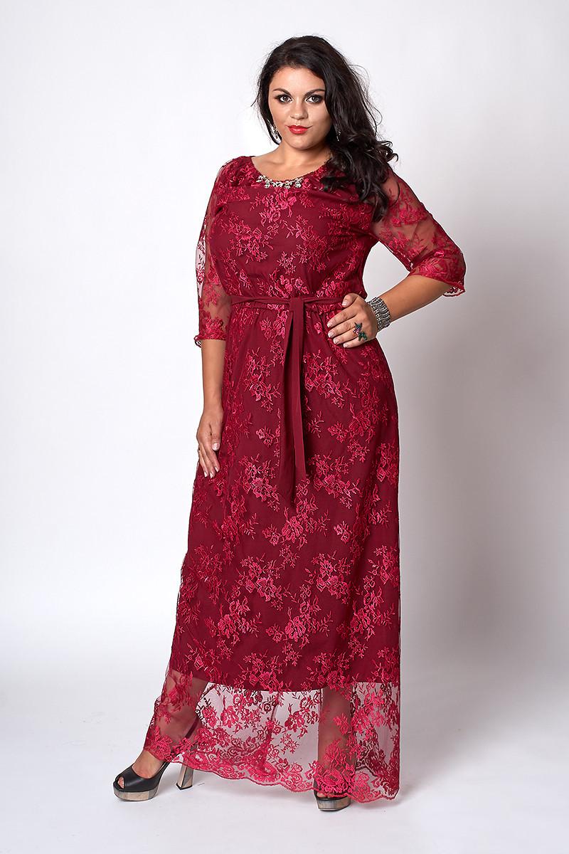 Шикарное гипюровое длинное платье бордового цвета