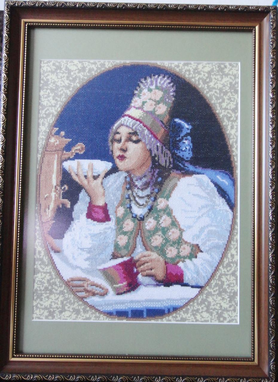 Картина «Чаёвница» вышитая крестом ручной работы 42х30 см
