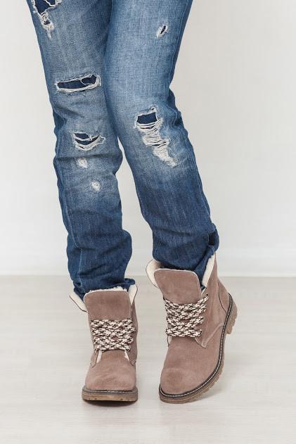 Женские зимние ботинки из натуральной кожи голубого цвета COMFORT SHORE SUEDE W