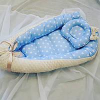 """Гнездышко-кокон для новорожденных """"Белые звезды"""", фото 1"""