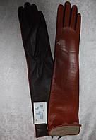 Перчатки женские зимние длинные из натуральной кожи