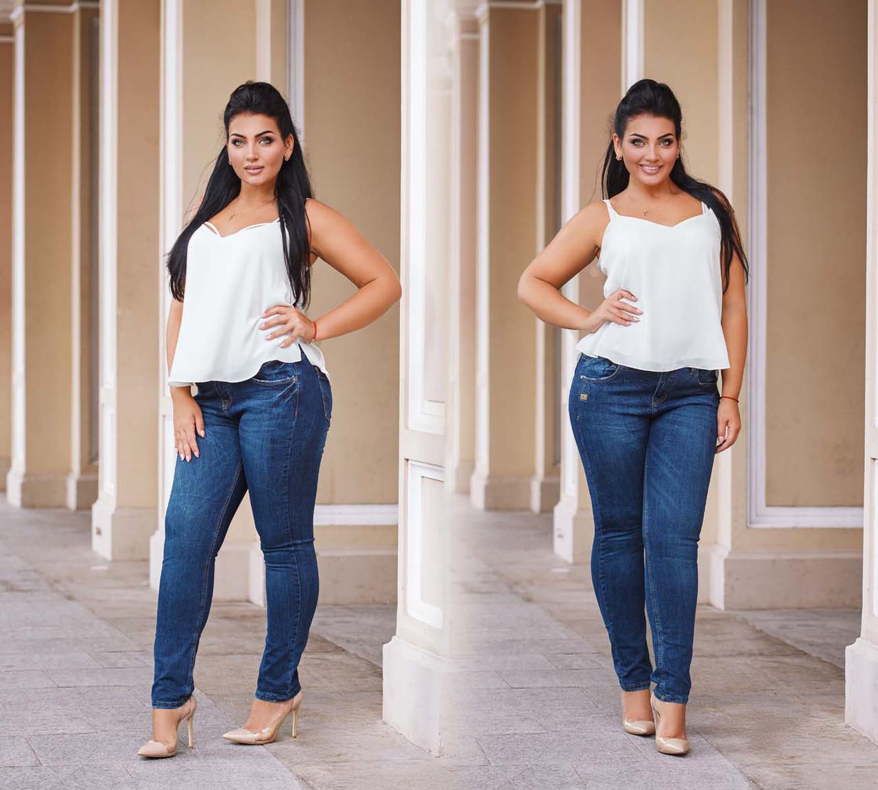 Женские стильные джинсы в больших размерах 11170