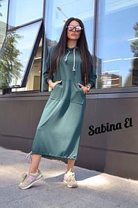 Женское спортивное платье-худи с капюшоном, в расцветках. ЕЛ-3-0920