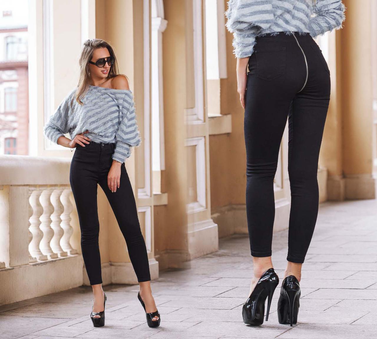 Женские стильные джинсы со змейкой сзади до больших размеров 20070