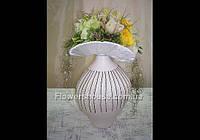 Свадебная композиция в керамической вазе, оформление свадьбы цветами, Киев