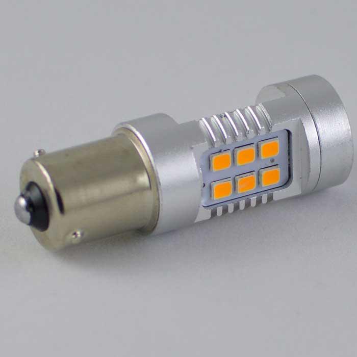 Светодиодная  лампа в указатель поворота, под цоколь 1156(PY21W)(BAU15S) 21*3535 9-30V Жёлтая