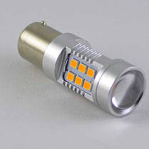 Светодиодная  лампа в указатель поворота, под цоколь 1156(PY21W)(BAU15S) 21*3535 9-30V Жёлтая, фото 2