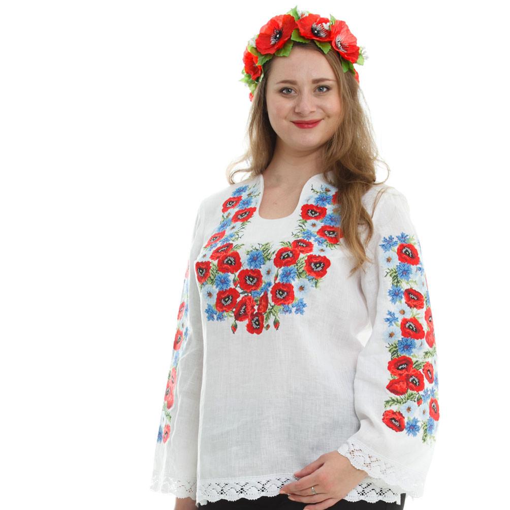 Льняная вышиванка. Летние цветы., фото 1