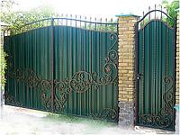 Кованые ворота из профнастила(Олександыр)
