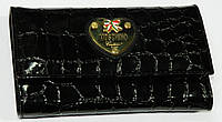 Турецкий женский кошелек кожаный черный т53