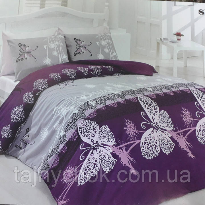 Двуспальное постельное белье Бабочки на сиреневом