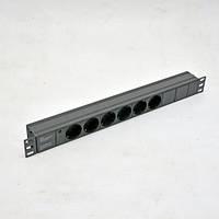 """Блок 19"""" на 6 роз. нем. станд., 10А, с индикатором., черный, 1U, без шнура, разъём С14"""