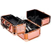 Профессиональный алюминиевый кейс для косметики, бронзовый, фото 1