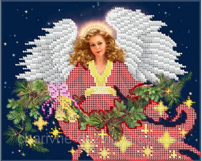 """Схема для вишивання бісером на габардині """"Різдвяний Янгол"""""""