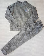 Прогулочный спортивный костюм на девочку Звезда р. 128-146 светло-серый