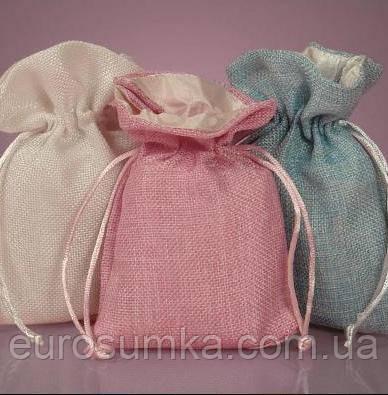Льняные подарочные мешочки с подкладкой из атласа от 100 шт.