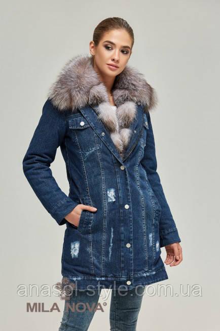 Куртка парку з хутром темний джинс FROST BLUE