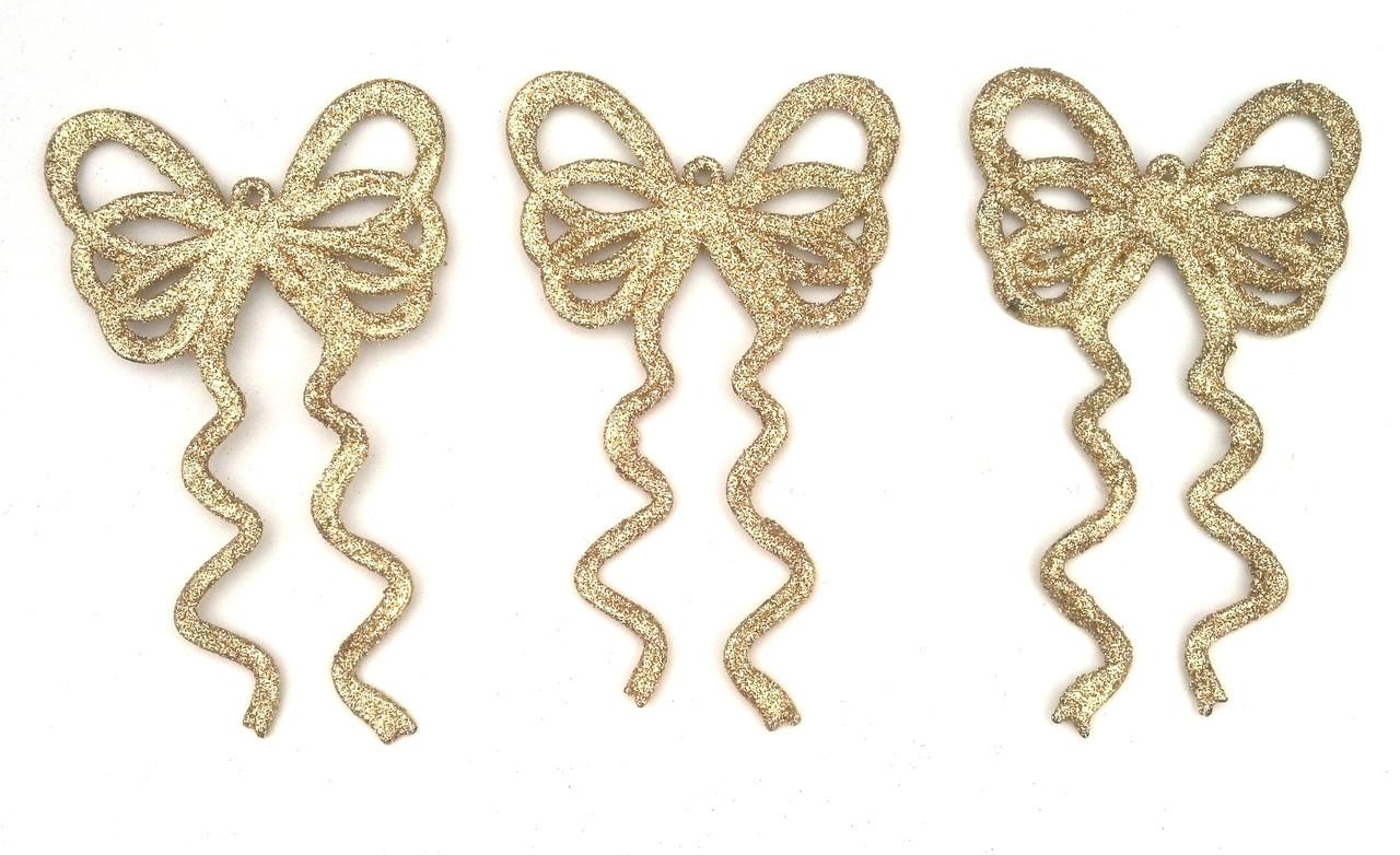 Набор подвесок - бантики золото 12 шт.