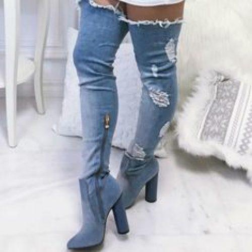 f6edcf299 Джинсовые сапоги ботфорты женские - интернет-магазин обуви