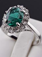 Кольцо Кейт Изумруд в серебре