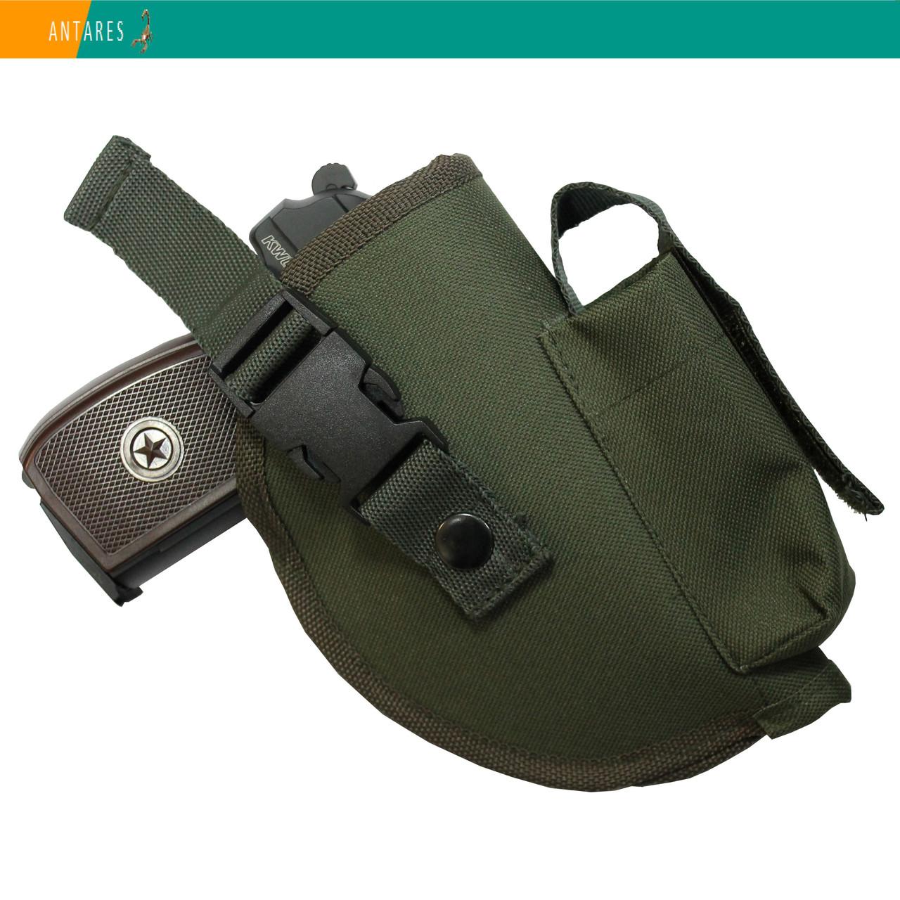 Кобура универсальная поясная хаки с карманом для магазина (013)