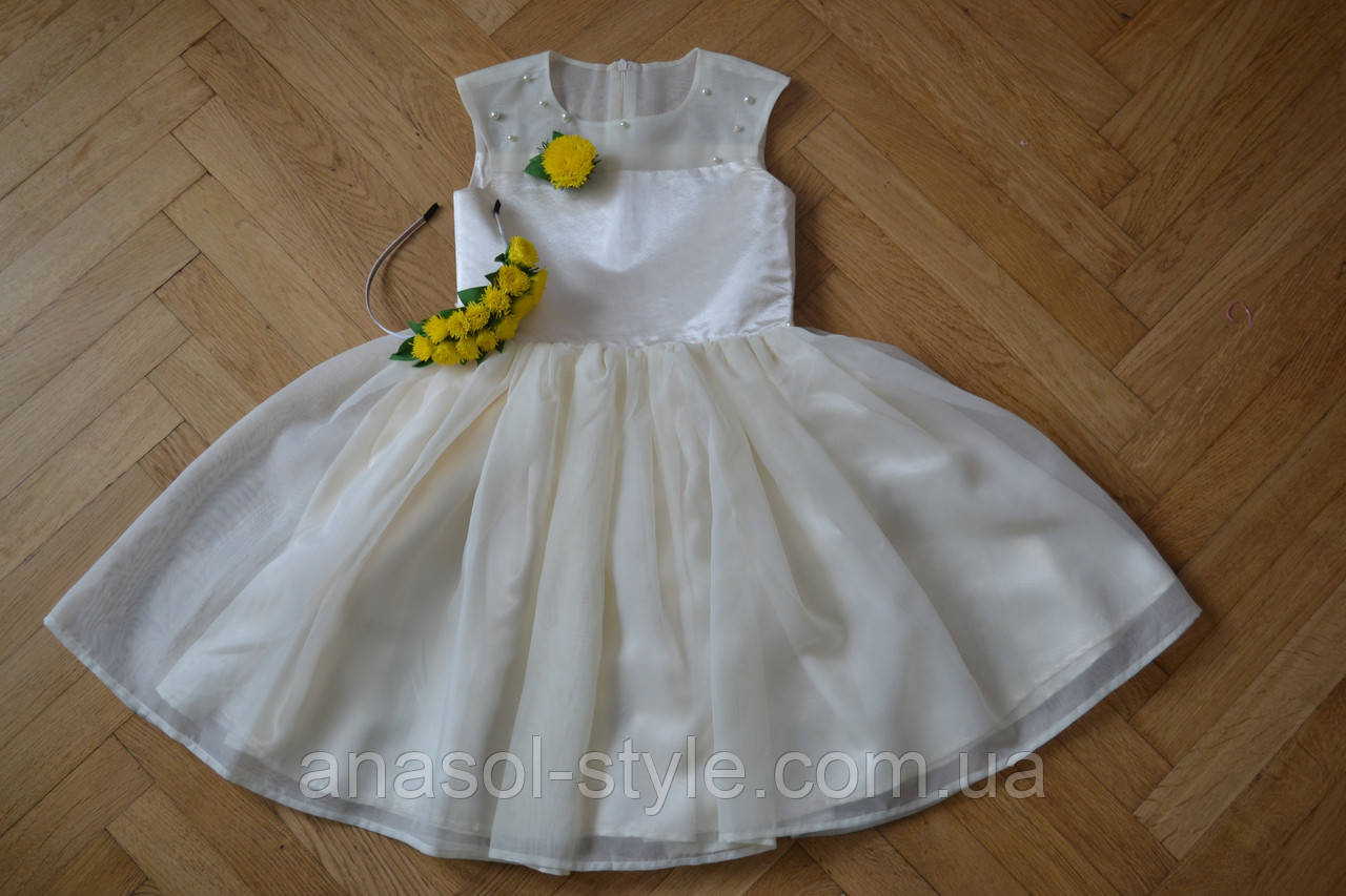 Платье бальное детское молочное для девочки