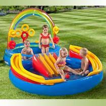 Надувной детский игровой центр - бассейн Intex 57453 Радуга (297х193х135см), фото 2