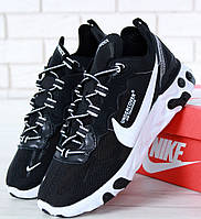 Мужские кроссовки Nike React Element 87 x Undercover Black White. Живое фото. Топ реплика ААА+