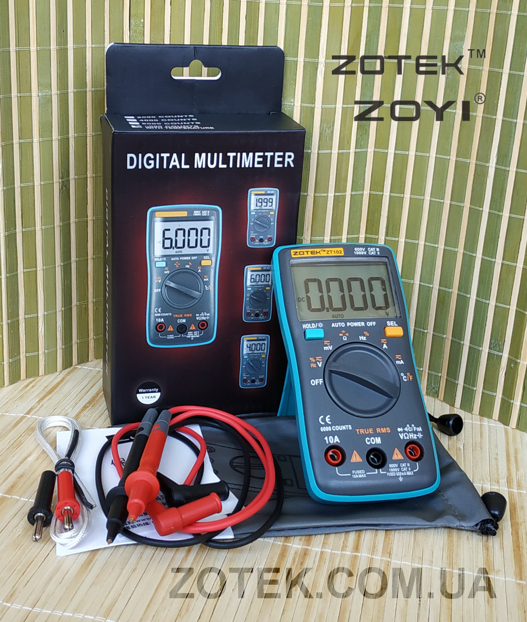 Мультиметр ZOTEK ZT102 цифровой тестер с термопарой True RMS