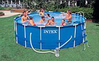 Большой каркасный бассейн Intex , металлический каркас, отличный отдых , бассейн во дворе