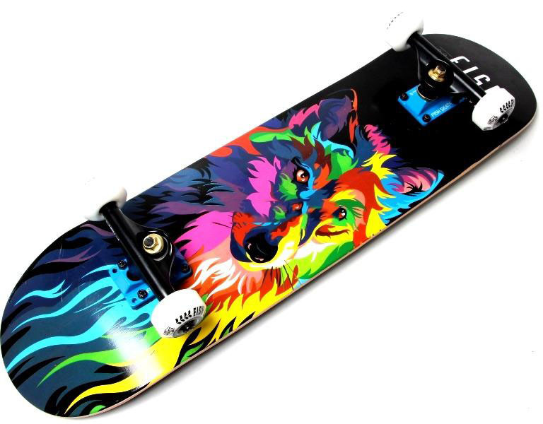 "СкейтБорд деревянный Fish Skateboard ""Wolf"""