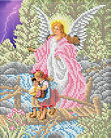 """Схема для вышивки бисером икона """"Ангел хранитель """""""