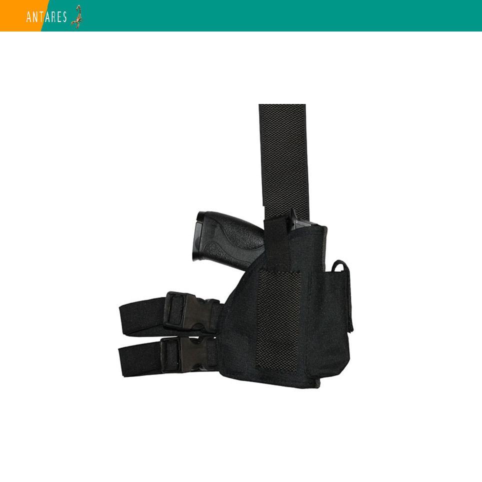 Кобура универсальная черная набедренная с карманом для магазина (011)
