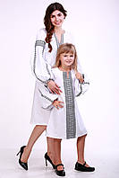"""Комплект платть для мамы и дочки """"Думка"""" (белый классик), фото 1"""