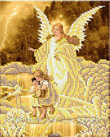 """Схема для вышивки бисером икона """"Ангел хранитель (золото)"""""""